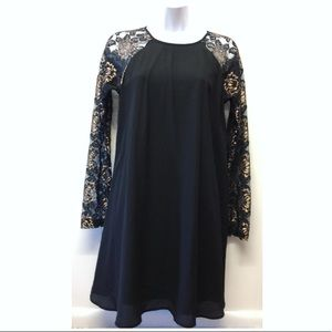 Anthro | Everly Dress Black & Gold Lace Sleeves
